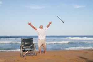 I'm free! senior man get up from wheelchair and throw away his walking cane