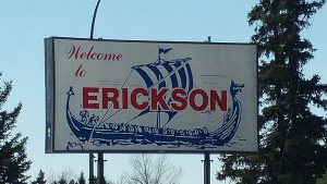 Picture of the sign welcoming people to Erickson, Manitoba